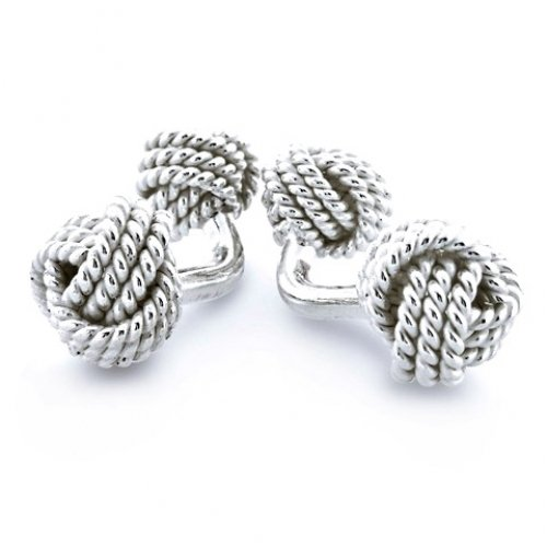Bling Jewelry Silver Twist Cable Love Knot Double Faced Cufflinks