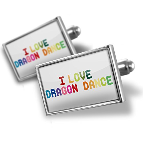 Sterling Silver Cufflinks I Love Dragon Dance,Colorful – Neonblond