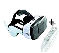 WI TRANCE VR HEADSET-110-120 Degree FOV For Best Immersive Experience-- Inbuilt Bass Boost Surround Sound Headphones-- Inbuilt Call Answer - Volume Rocker -- InBuilt Microphone For Calling-- Bluetooth Remote Controller For Better Gaming & V R Experience -- Works With 4.7 - 6.5 Inch Phones--Perfectly Inspired Match with Google Daydream-Google CardBoard-Oculus-HTC VIVE -- Best For Lenovo-K4 Note,iPhone 6-6s-6plus-7-7plus,OnePlus,Samsung With Inbuilt Magnetic Trigger and Touch Device