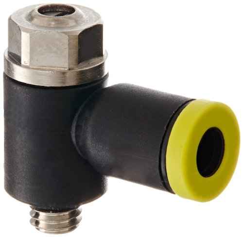Legris 7010 04 19 Nylon Air Flow Control Valve, 90 Degree Elbow, Meter-Out, Slotted Screw, 4 mm Tube OD x M5 Metric Male