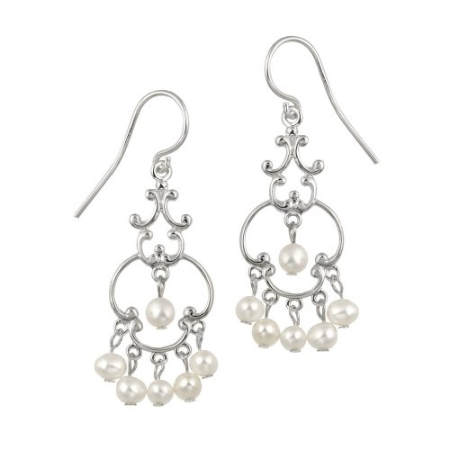 Sterling Silver Fancy Linear Drop French Wire Earrings with 6 Round Freshwater White Pearl Drops