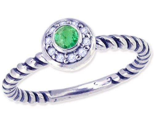 Twisted Sterling Silver Stackable Ring with Round Genuine Gem and Diamond-Emerald-in full,half,quarter sizes from 4 to 12_5