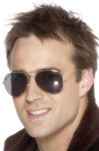 Smiffy's Men's Aviator Specs, Black, One Size - 1