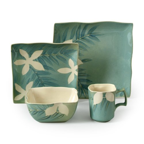 Gibson Spring Grove 16-Piece Square Reactive Glaze Stoneware Dinnerware Set, Green