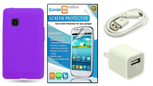 Coveron® Lg 840G Silicone Rubber Soft Skin Case Cover Bundle With Clear Anti-Glare Lcd Screen Protector & White Micro Usb Data Cable & White Wall Charger Adapter - Purple