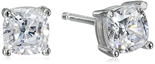 Platinum Plated Sterling Silver Cushion-Cut Cubic Zirconia Studs (1 cttw) (Big Diamond Earrings compare prices)