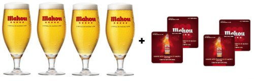 mahou-two-third-pint-toughened-glasses-plus-mahou-beer-mats-set-of-4