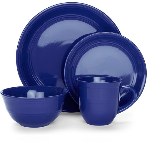 16-Piece Blue Dinnerware Set, Contemporary Dishes, Stoneware Dish Set, Casual Dishes