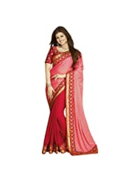 Red And Pink Georgette And Brasso Party Wear Saree