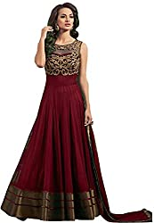 Women's Net Semi Stitched Maroon Fancy Partywear Gown