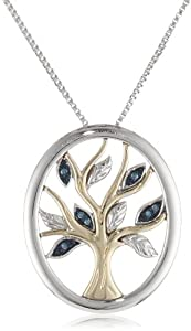 XPY Sterling Silver and 14k Yellow Gold Blue Diamond Tree of Life Pendant Necklace (0.04 cttw, I-J Color, I2-I3 Clarity), 18