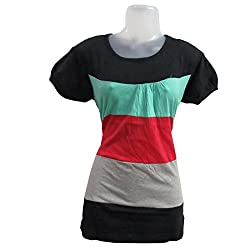 revin black with multicolour round neck tshirt
