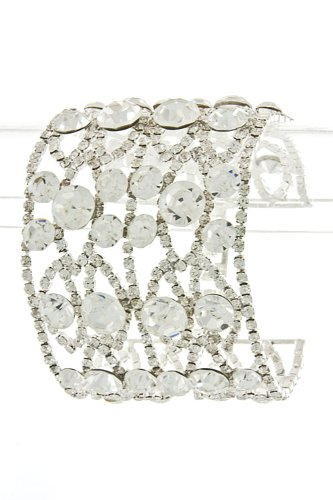 Trendy Fashion Jewelry Wide Crystal Statement Bracelet By Fashion Destination   (Clear)