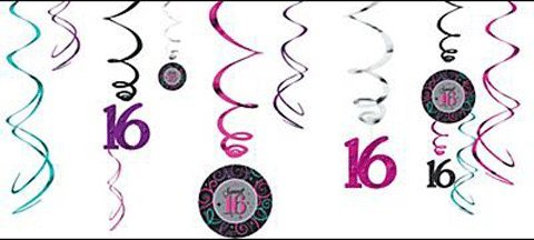 Celebrate Sweet 16 Birthday Party Swirl Decorations - 12ct
