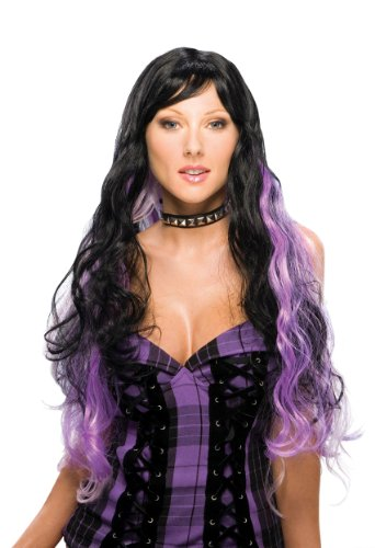 Rubie's Costume Long Fantasy Wig, Black/Purple, One Size - 1