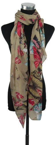 Large Beige Butterfly Chiffon Scarf or Sarong