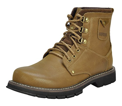 Serene Mens Fashion Leather Lace Up Ankle Boots Shoes(8 D(M)US, Tan)