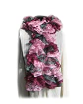 Fashion Handmade Knitted Ruffle Scarf,Red Heart Sashay Yarn Ballet Pink Maroon Grey