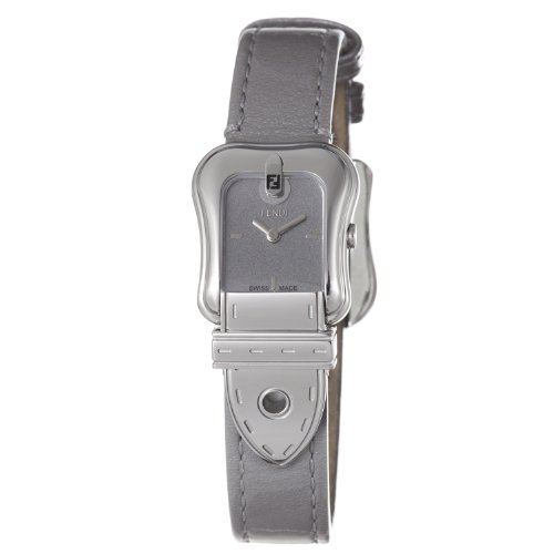 Fendi B. Fendi Ladies Shiny Grey Leather Strap Buckle Shaped Watch F370266