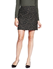 M&S Collection Animal Jacquard Print Mini Skirt with Wool
