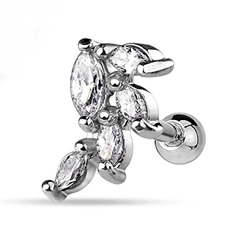 Polished Marquise CZ Cluster Vine Freedom Fashion 316L Surgical Steel Cartilage/Tragus Bar (Gem Cluster 16g compare prices)
