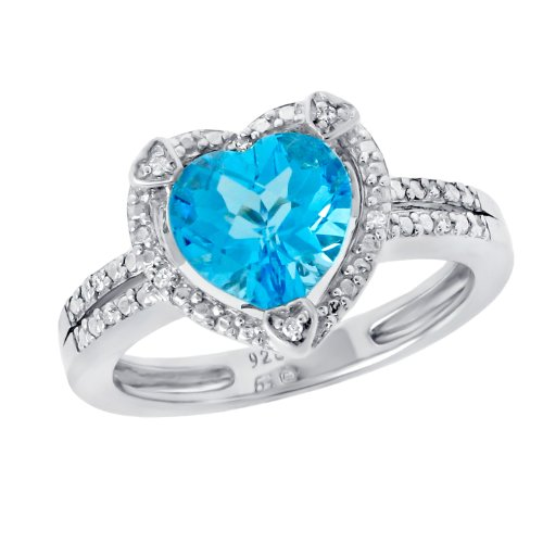 Sterling Silver Heart-Shape Blue Topaz and Diamond (.03 cttw) Ring, Size 8