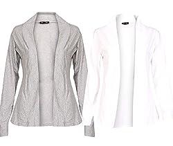 Ten on Ten Women's Pair of Grey/ White Long Shrug