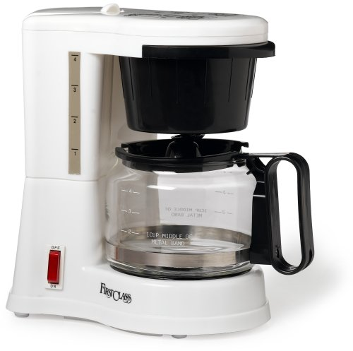 Jerdon CM410WD 4-Cup Automatic Shut-Off Coffee Maker, White Finish