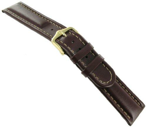 16mm Hirsch Mustang Genuine Leather Watch Band Strap Brown Regular