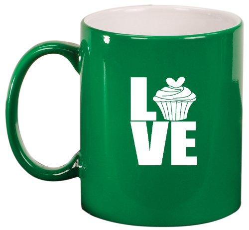 Green Ceramic Coffee Tea Mug Love Cupcake