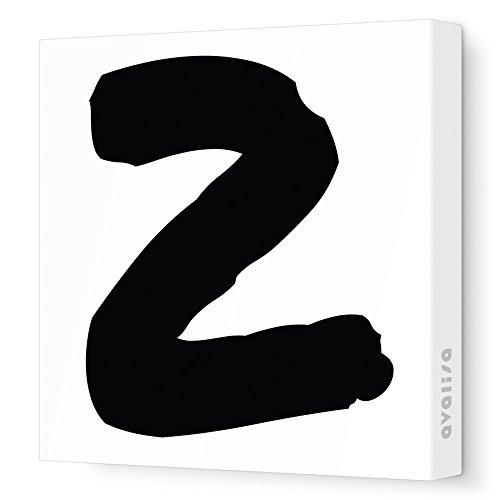 "Avalisa Stretched Canvas Number 2 Nursery Wall Art, Black, 12"" x 12"""