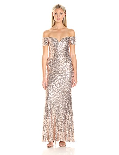 Badgley-Mischka-Womens-Off-the-Shoulder-Stretch-Sequin-Gown
