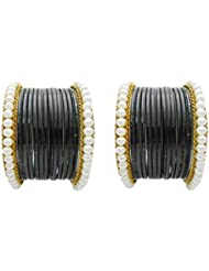 Designer Black Pearl Bridal Bangles Set By My Design(size-2.4)