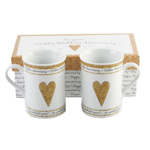 Pair of Anniversary Mugs - 50th Gold Wedding
