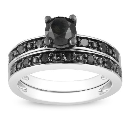 Sterling Silver 1 CT TDW Black Diamond Black Rhodium Plated Bridal Set Ring