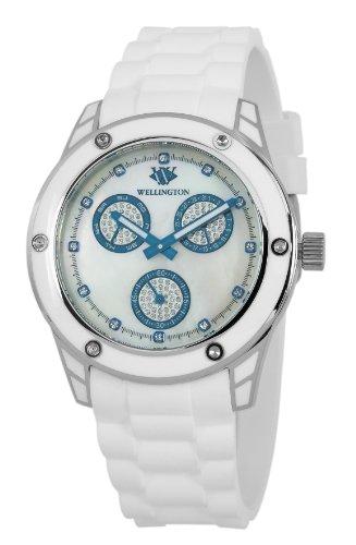 Wellington Geraldine WN506-186A - Reloj analógico de cuarzo para mujer, correa de silicona color blanco