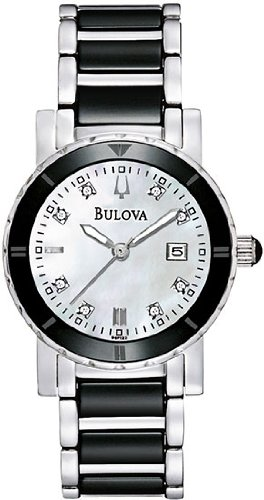 Black Ceramic And Stainless Steel Quartz Mother Of Pearl Diamonds For Wonen By Bulova