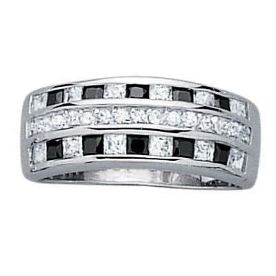 Sterling Silver Black & White Cubic Zirconia 3 Row 6 mm Band Ring - Size L