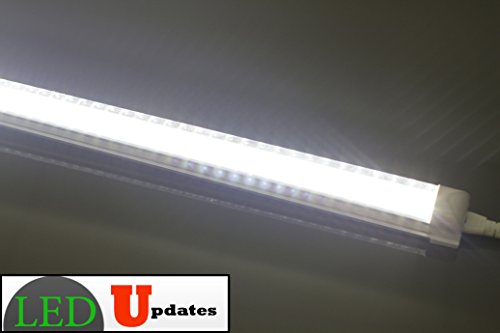 2x 4ft integrated 20w clear led tube utility shop light for Tube led garage
