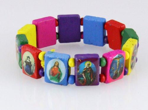 4030459 Wood Holy Saints and Icons Christian Jesus Christ Stretch Bracelet Catholic