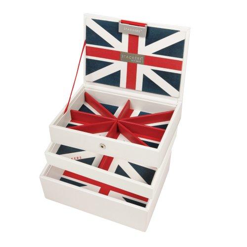 Stackers Set Of 3 White Mini Union Jack Stacker Jewellery Trays