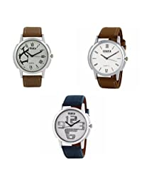 Oura White Dial Analog Round Formal Official Wear Watch For Men Combo Of 3pc