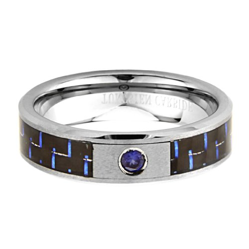 6mm 1 One Stone Saprhire Carbon Fiber Men's Cobalt Free Tungsten Carbide COMFORT-FIT Wedding Band Ring (Size 8 to 12) - Size 8