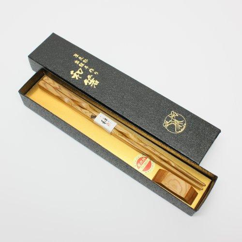 箸 屋久杉高級箸ねじりタイプ一本入り(箸置き付)23cm