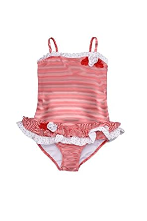 Kate Mack - Red Regatta Toddler Striped 1 Piece Skirted Swimsuit in Red / White - 4T