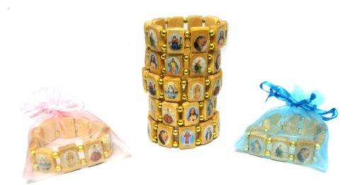 Dozen Large Wood Saints Bracelet- Made in Brazil