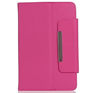 Crazycity Arrival Colorful Tablet Case 7 Inch Universal PU Leather Executive Folio Case Cover with Stand and Magnet Button (Hot pink) by Crazycity