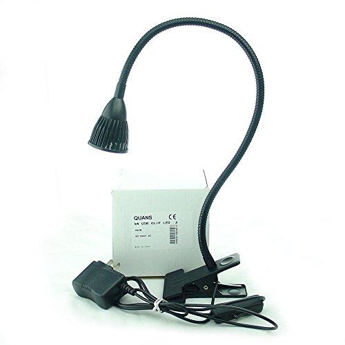 QUANS 5W Clip on Clamp Gooseneck COB LED Desk Table Light lamp Warm White 19inch Neck Black