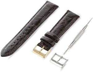 Artisan of Italy CITPD400-0218MR Men's Dress Padded Crocodile 18mm Brown Watch Strap
