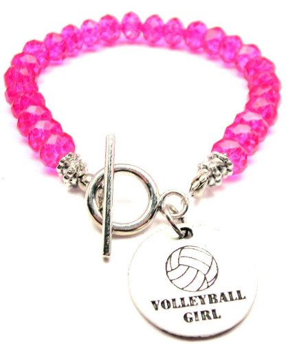 Volleyball Girl Hot Pink Crystal Beaded Toggle Bracelet